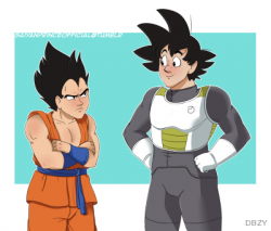 Vegeta and Goku swap clothes