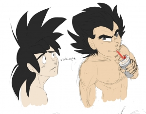 Vegeta sipping while Goku whines